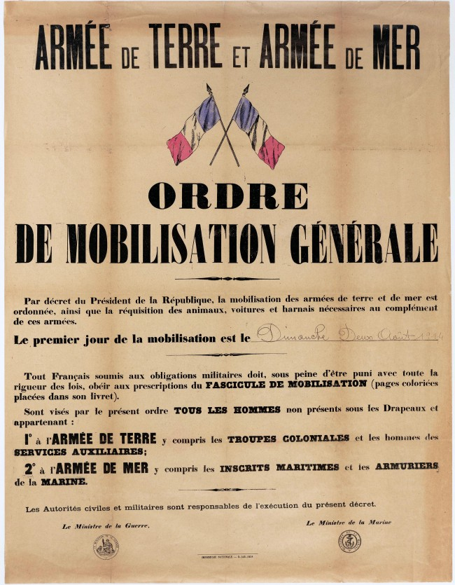 Affiche de mobilisation générale en France du 2 août 1914 - Wikimedia Commons