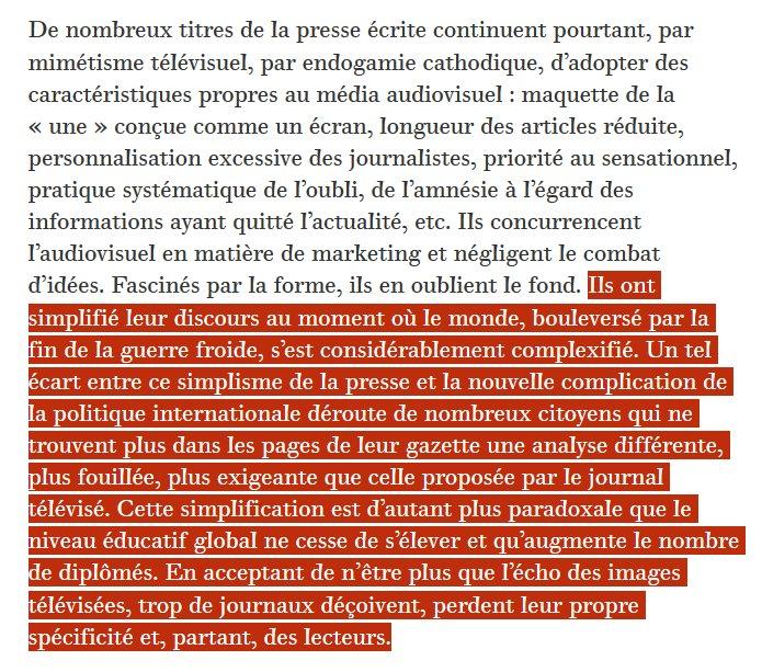 """Ignacio Ramonet, """"S'informer fatigue"""", Le Monde Diplomatique, 1993."""