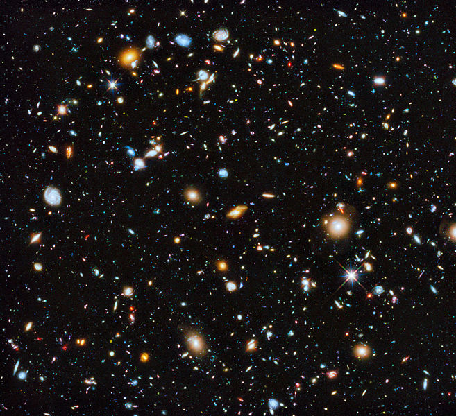 Hubble's colourful view of the Universe, NASA, ESA, H. Teplitz and M. Rafelski (IPAC/Caltech), A. Koekemoer (STScI), R. Windhorst (Arizona State University), and Z. Levay (STScI) (2014)