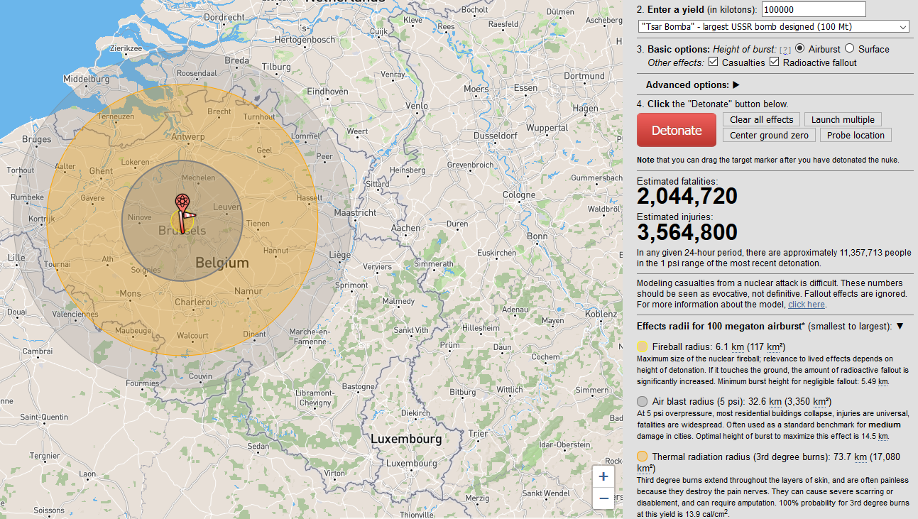 Simulation NukeMap - Tsar Bomba (100MT) sur Bruxelles - https://nuclearsecrecy.com/nukemap/