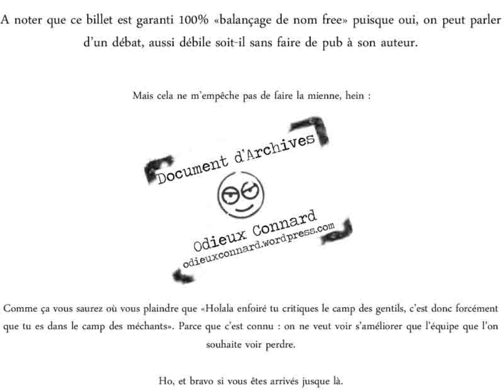 """Odieux Connard : """"Commencer l'année du bon pied (au cul)"""""""